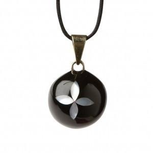 Bola kismama lánc VK270 - fekete gyöngy virág