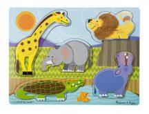 Melissa & Doug Fa készségfejlesztő játék, tapintós puzzle állatkert