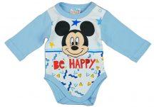 "Asti Disney Mickey ""Be happy"" hosszú ujjú baba body fehér-kék 50"