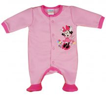 Asti Disney Minnie virágos, belül bolyhos, hosszú ujjú rugdalózó  rózsaszín 62