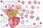 Best4Baby Maci lány pink virágos falmatrica - fehér