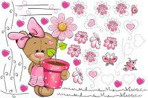 Best4Baby Maci lány pink virágos falmatrica - átlátszó