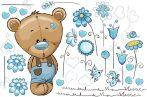 Best4Baby Maci fiú kék virágos falmatrica - átlátszó