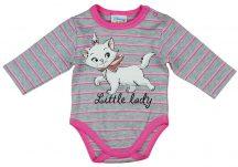 Asti Disney Marie cica hosszú ujjú baba body melír csíkos 56