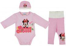 Asti 3 részes baba kislány szett Minnie virágos mintával, rózsaszín 062